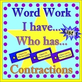 Word Work - Contractions-List One  *Star Theme with Flashc