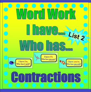 Word Work - Contractions-List Two  *Sea Life Theme with Flashcards Included*