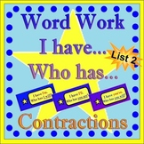 Word Work - Contractions-List Two  *Star Theme with Flashcards Included*