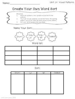 Word Work: Create Your Own Word Sort