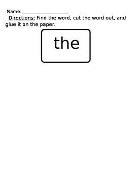 Word Work-Cut and Glue