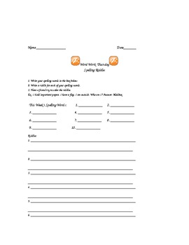Word Work Daily Activities