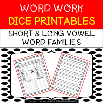 Word Work Dice Printables - Short and Long Vowel Word Families