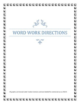 Word Work Directions and Labels