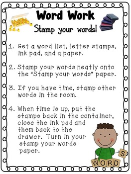 Word Work~ Directions and Recording Sheets