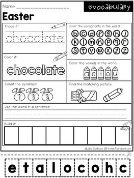 Word Work- Easter Vocabulary