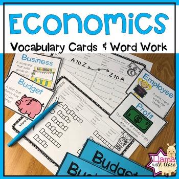 Economics Vocabulary Cards and Word Work Practice