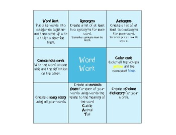 Word Work FREEBEE 3rd/4th grade