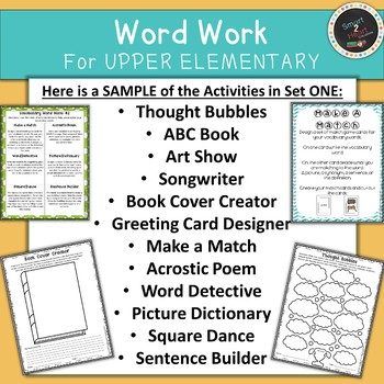 Word Work FREEBIE Vocabulary Centers for Upper Elementary