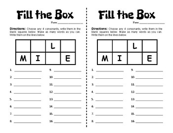 Word Work - Fill the Box - Half Pages - 10 Pre-Made