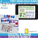Word Work First Grade Dolch Sight Words Print, Google Slides & Seesaw Bundle