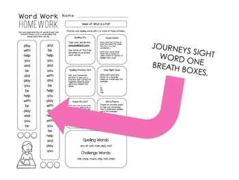 Journeys Spelling Homework - Activity Menu - One Breath Boxes 1st Grade Unit 6