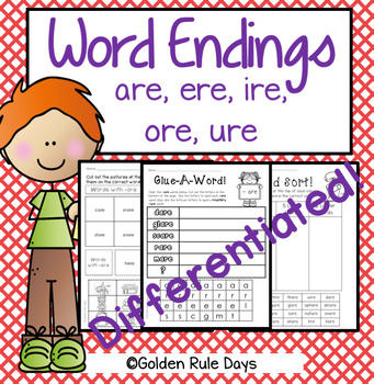Word Work For Word Endings ere, are, ire, ore and ure! Spelling