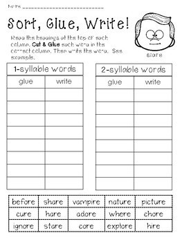 Word Work For Endings ere, are, ire, ore and ure! Differentiated!