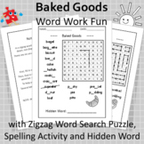 Word Work Fun with Baked Goods and Zigzag Word Search Puzzle