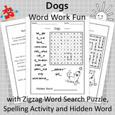 Word Work Fun with Dog Breeds and Zigzag Word Search Puzzle