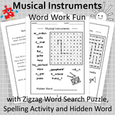 Word Work Fun with Musical Instruments and Zigzag Word Sea