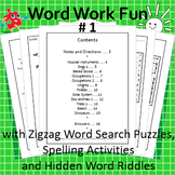 Word Work Fun with Zigzag Word Search Puzzles, Booklet #1