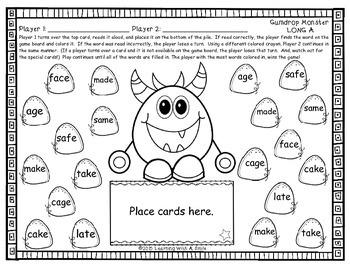 Word Work GUMDROP MONSTER #2 PARTNER GAME: Great for Literacy Centers!