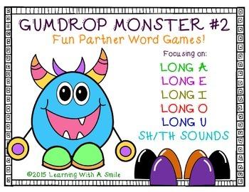 Word Work GUMDROP MONSTER #2 PARTNER GAME: Great for Liter