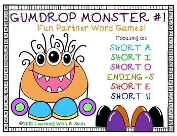 Word Work GUMDROP MONSTER #1 PARTNER GAME: Great for Literacy Centers!