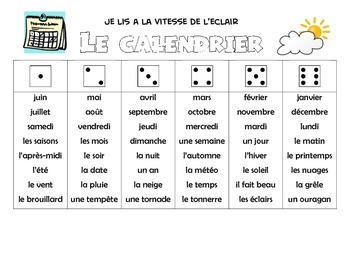 Word Work Game French Vocabulary