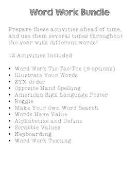 Word Work Games Bundles