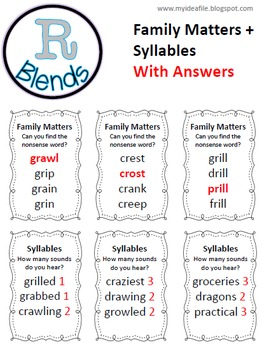 Word Work Games: Consonant Blends - Trouble