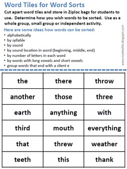 Word Work Games: Consonant Digraphs - Password Checkers, Trouble, Word Sorts