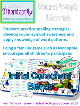 Word Work Games: Initial Consonant Blends - Monopoly