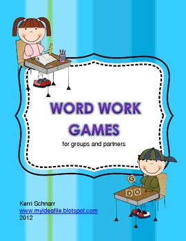 Word Work Games for groups and partners