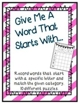 Word Work - Give Me A Word For...