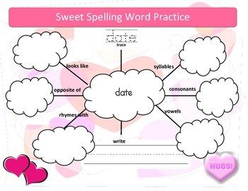 Free Word Work Graphic Organizer for Spelling Words - Valentine's theme