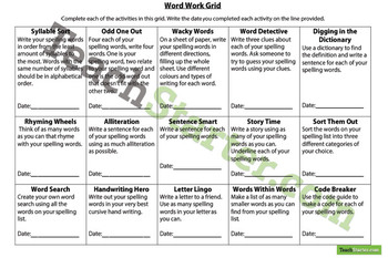 Word Work Grid and Worksheets