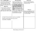 Word Work HW/ Activities