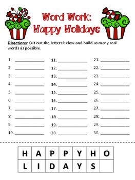 Word Work - Happy Holidays
