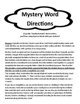 Word Work: Holiday Mystery Word Pack
