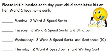 Word Work Homework Label