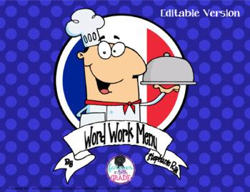 Word Work Homework Menu-Editable Version