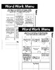 Word Work Homework or Menu