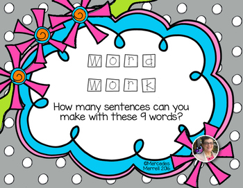 Word Work  How many sentences can you make with  these 9 words? Grades 1-3