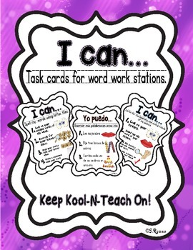 Word Work I Can cards - BILINGUAL!
