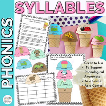 Phonics Word Work: Ice Cream Cone Syllable Scoops for 1st Grade