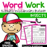 Word Work- Insects Vocabulary