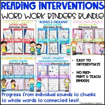 Word Work Intervention Binders Bundle