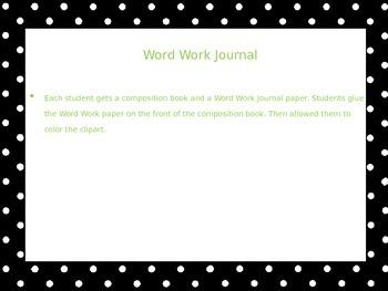 Word Work Journal Label