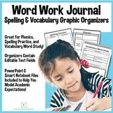 Vocabulary and Spelling Graphic Organizer Templates