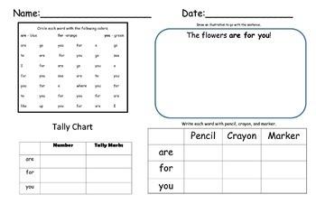 Word Work- Kindergarten