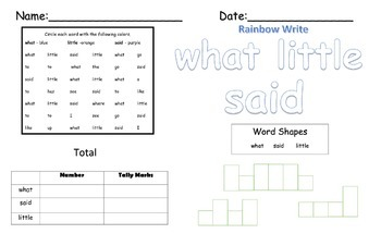 Word Work- Kindergarten