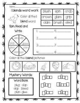 Word Work: L Blends Review